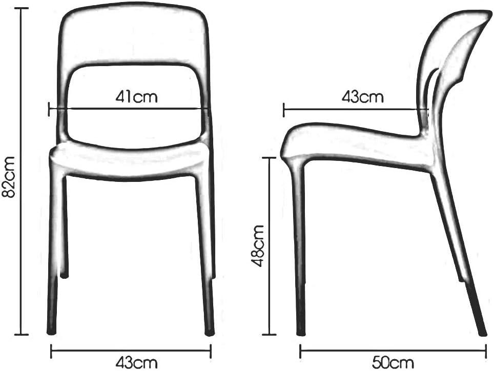 WYYY chaises Chaises De Salle À Manger Modernes Lot De 2 Chaise De Table En Plastique Chaise De Dossier Réception De Bureau Salle De Réunion Durable fort (Color : Red) Blue