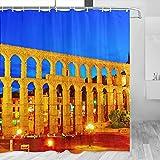 España Segovia Acueducto Cortina de Ducha Viaje Decoración de Baño Set Con Ganchos Poliéster 72x72inch (YL-05435)