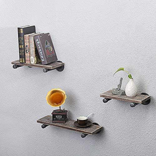Wgx Design For You Wandregale Für Industrie Wandmontage 3 Stück Rustikales Holz Wandregal Für Schlafzimmer Wohnzimmer Bad Küche Büro