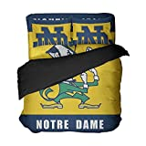 Ebedr 4PCS Notre Dame College Football Bed Sets Queen Sports Team Color Bedding University Quilt Cover Teens Boys Bed Duvet Covers