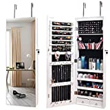 Nicetree Mirror Jewelry Cabinet, Jewelry Armoire Organizer with Full Length Mirror, Wall/Door Mounted, Full Length Mirror, White¡ (With Drawers)