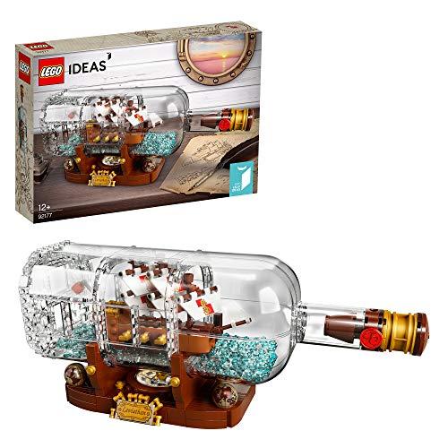 LEGO92177IdeasBarcoenunaBotella, SetdeConstruccióndeColeccionistasconSoporteparaExposiciónparaNiñosa Partir de 12años
