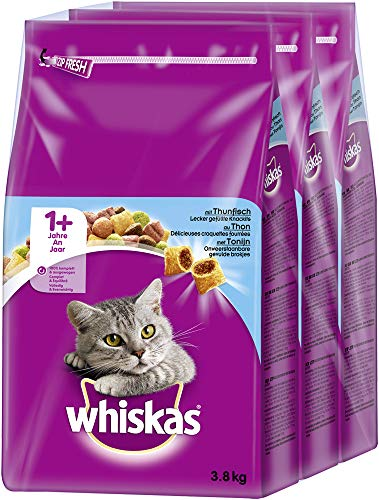 Whiskas Katzenfutter Trockenfutter Adult 1+ mit Thunfisch, 3 Beutel (3 x 3,8kg)