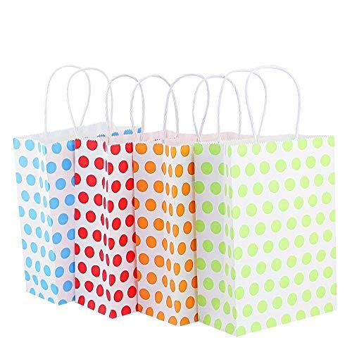 KBNIAN12 Stücke Papiertüten Papiertragetaschen Geschenktüten aus Kraftpapier für Geburtstagsparty, Ostern, Weihnachten, Hochzeit (grün, gelb, rot, Rosa)