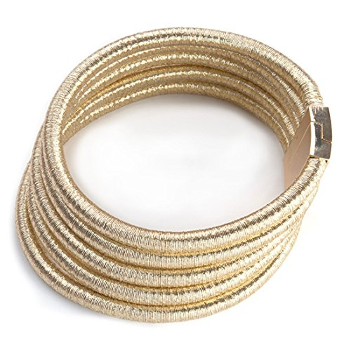 FANCY LOVE Newest Gold Rope Maxi Colar Choker Necklace with Maganetic Lock