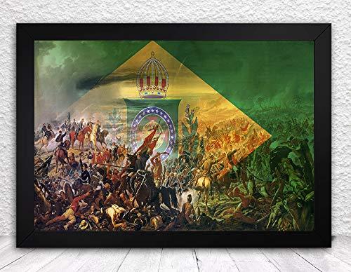 quadro bandeira monarquia guerra do paraguai tamanho 35x25cm com vidro