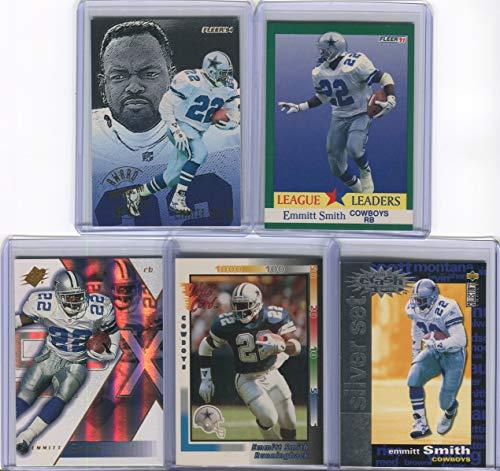 Emmitt Smith Dallas Cowboys Assorted Football Cards 5 Card Lot
