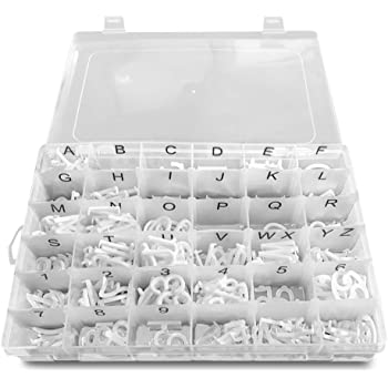 3//4 inch pre-Cut White Plastic Characters 340 Letters Numbers and Symbols Great to Replenish or add to Your Letter Set Letter Board Letters in Organizer