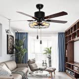 LuxureFan Retro Industrial Ceiling Fan Light for Restaurant/Living Room with Create Iron Cage Cover Pull Chain/ Remote and 5 Reversible Wood Leaves (52Inch)