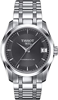 Tissot Women's Couturier 316L Stainless Steel case Swiss Automatic Watch Strap, Grey, 18 (Model: T0352071106100)