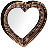 Angel's Treasure 13' x 12' Heart Shaped Wall Mounted Mirror, Vintage Antique Bronze Style