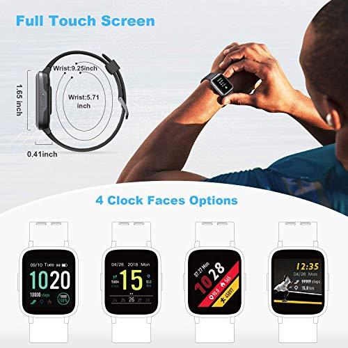 FITFORT FITFORT Smartwatch,Fitness Watch Uhr Voller Touch Screen Fitness Uhr IP68 Wasserdicht Fitness Tracker Sportuhr mit Schrittzähler Pulsuhren Stoppuhr für Damen Herren Smart Watch für iOS Android Handy