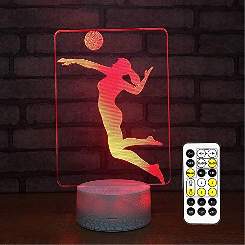 Cirkooh Sports Female Woman Volleyball Player 3D Optical Illusion Lamp 7 Colors Change Timing Remote Control and Touch Button LED Night Light Toys for Children Kids