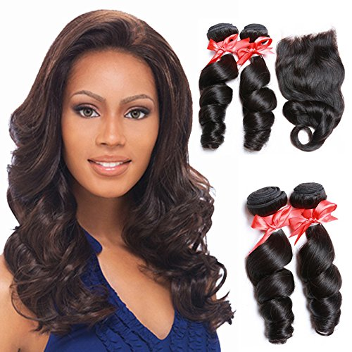 Meylee Postiches Oriental Show 8 ~ 30 pouces 6 a brésilien Loose Wave, Pack de 3 (longueur mixte), 100 % non transformés vierge de cheveux humains, 30
