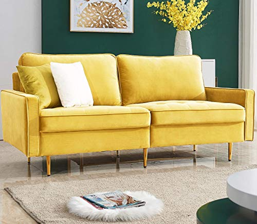 Danxee Velvet Fabric Sofa Couch 71' Wide Mid Century Modern Tufted Fabric Sofa Living Room Sofa...