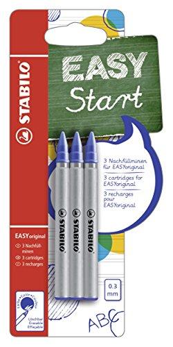 STABILO EASYoriginal–Pack de 3RECHARGES für Tintenroller ergonomisch (blau schreibend radierbar/Spitze 0,3mm)