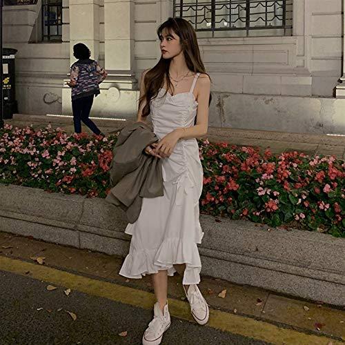 Yunbai Goth Lolita Kleid Weißes Hosenträger Kleid Frauen Frühling und Sommer 2021 Neue erste Liebe Kleid Retro Französisch Sanfter Wind Lange Rock Flut (Color : White Dress, Size : Medium)