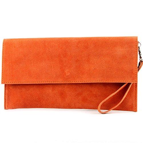 modamoda de - cuero italiano de embrague T151 Pequeño Gamuza, Color:naranja
