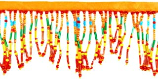 Expo SMT6051RNG Bugle and Seed Bead Fringe Trim 36-Inch Orange