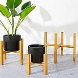 Support à Plante en Pot en Bambou avec Repose-Pied Milieu du siècle avec Support à Pot en Bois...
