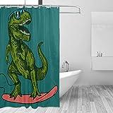 COSNUG Lustiger Cartoon-Dinosaurier-Spiel-Skateboard-Duschvorhang für Badezimmer, 183 x 183 cm, mit 12 Haken, wasserdichte Badezimmervorhänge für Mädchen & Jungen