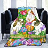 XTGOO Easter Bunny with Easter Eggs Print Flannel Fleece Blanket Throw Ultra-Soft Velvet Plush Throw Blanket,60x50 in