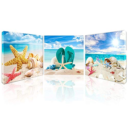 Beach Canvas Wall Art for Bathroom Starfish Seashell Pictures Modern Seascape Stretched and Framed Giclee Canvas Prints Seaview Landscape Artwork for Bedroom Home Office Decorations