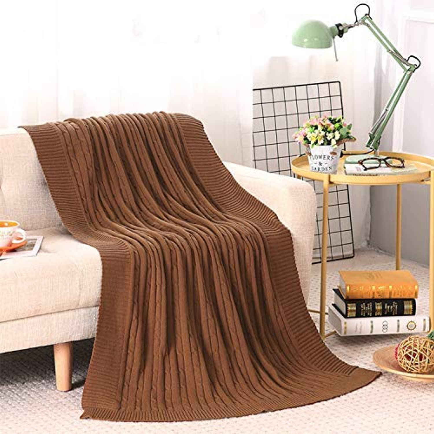 JINGB Home Cotton Knit Blanket Small Linen Flower Thread Blanket Baby Blankets air Travel and Leisure Sofa Blanket Brown,180cm200cm (Size   120cm180cm)