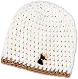 Mütze mit Hirsch Baby Buben Kinder handgestrickt Tracht Weiß