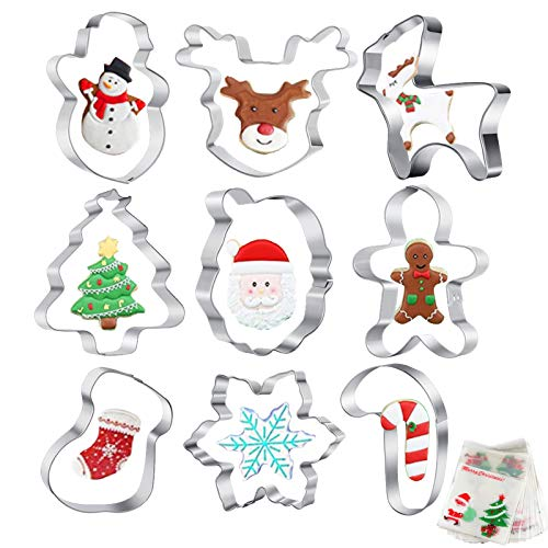 Christmas Cookie Cutters Set of 9 Pcs Xmas/Holiday/Wonderland Party Supplies/Favors Cookies Molds - Gingerbread Men,Christmas Tree,Santa Face, Snowflake (M)