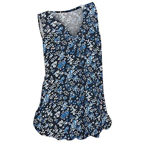Inawayls Sommer Damen Oberteile V-Ausschnitt Print Kurzarm T-Shirt Übergröße Casual Tunika Tops Vintage Print Tshirt Frauen Party Sommer Strandtop Tops T Shirt