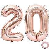 Juland Luftballons 20. Geburtstag XXL Riesen Folienballon Luftballon Zahl 20 Rose Gold Nummer Ballons Große Folienmylar-Ballons 40-Zoll-Riesen-Jumbo-Zahl-Ballons für 20. Geburtstagsfeierdekorationen
