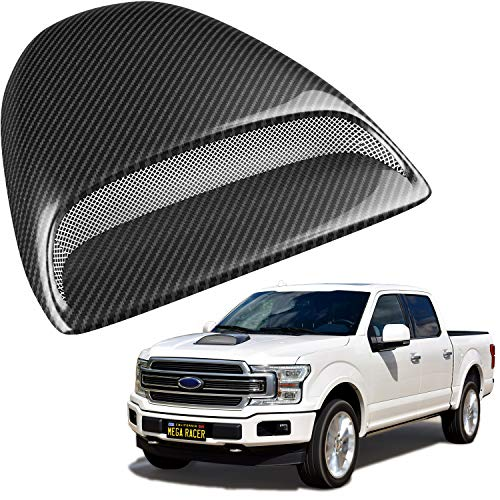 Mega Racer Carbon Fiber Automotive Hood Scoops for Trucks - JDM Racing Style Front Decorative Air Vents with Aero Dynamic Air Flow Exterior Intake Cover 3M Tape Adhesive, Universal Fit Car Wash Safe