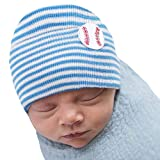 Melondipity Newborn Baby Hospital Hat with Baseball Patch – Sports Theme Blue & White Striped Nursery Beanie for Boys - Soft Knitted & Cute Cap Head Wraps for Infants