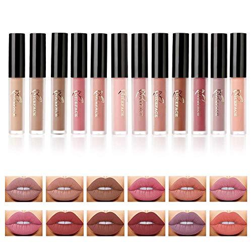 Goodquan 12 Stück Matt Nude Lipgloss Set, Valuemakers Lippenstifte Matte Flüssige Lippenstifte, Langanhaltend und Wasserfest Nudefarben Rot Rosa Pink Samt Lippenstift Set