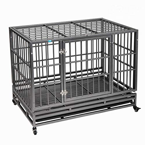 """37""""/42.5"""" Heavy Duty Dog Kennels and Crates for Large Medium Dogs,..."""
