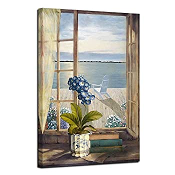 Acocifi Ocean Canvas Wall Art Blue Flowers Pictures Modern Window Seascape Painting Artwork Prints Framed for Bathroom Bedroom Dinning Room Living Room Office Home Decor 24 X36  One Panell