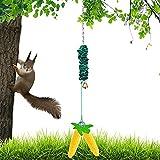Bungee Squirrel Feeder,Squirrel Feeder for Outside, Cob Holder Squirrel Feeder, attracts Squirrel, Chipmunk and Other Backyard Wildlife