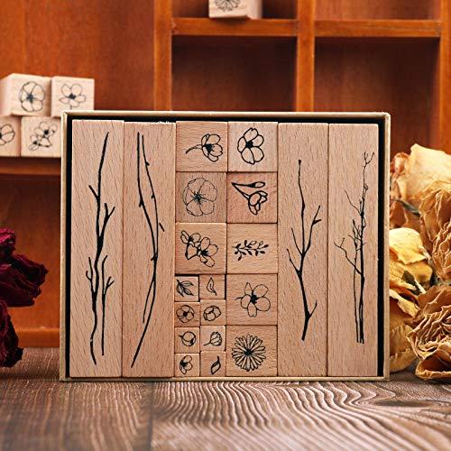 Hölzern Stempel Set, NogaMoga 20 Stück Stempel aus Holz Natürlicher Blumen Motive, Natur-Stil Dekorative Stempel für die Herstellung von Karten, Kunsthandwerk, Geschenken und DIY Scrapbooking