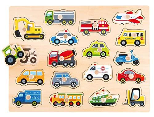 Lelin Steckpuzzle Fahrzeuge Holzpuzzle Setzpuzzle Einlegepuzzle Motorik Lernspielzeug