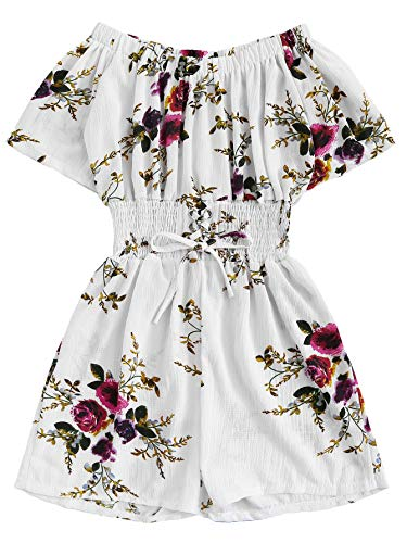 Milumia Women Short Sleeves Floral Off The Shoulder Jumpsuits Rompers White Medium