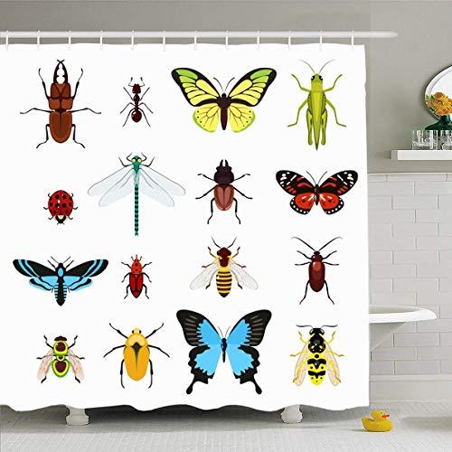 N/A Duschvorhang 182,9 x 182,9 cm Midge Brown Beetle Insekten bunt Libelle Grashüpfer Wildtier Heuschrecken-Ameisen Biene Design wasserdichte Polyester Stoff Badezimmer Gardinen Set mit Haken