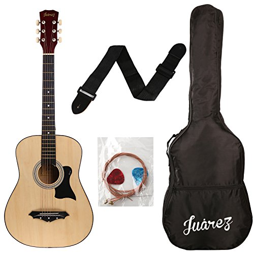 JUAREZ JRZ38C Right Handed Acoustic Guitar with Bag, Strings, Pick and Strap (Natural, 6 Strings)