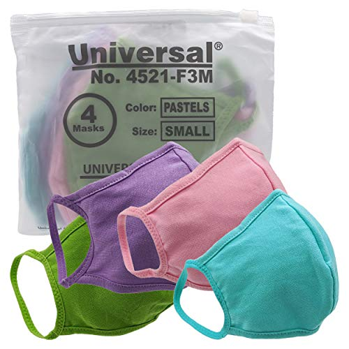 Universal 4521 Cloth Face Masks – Reusable Nose & Mouth Mask – 100% Cotton, 2 Layer, Washable Facemask for Teens & Adults – Protects from Dust, Pollen, Pet Dander & More (Pastels, Small)