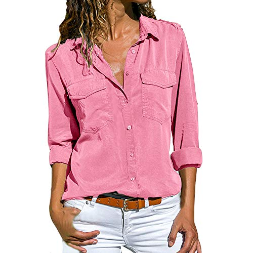 Camisas Mujer Tallas Grandes,ZODOF Moda Camiseta sólida Mujer chifón Blusas de Oficina de Manga Larga Lisa de Mujer Elegantes de Vestir Fiesta Camisetas Chica