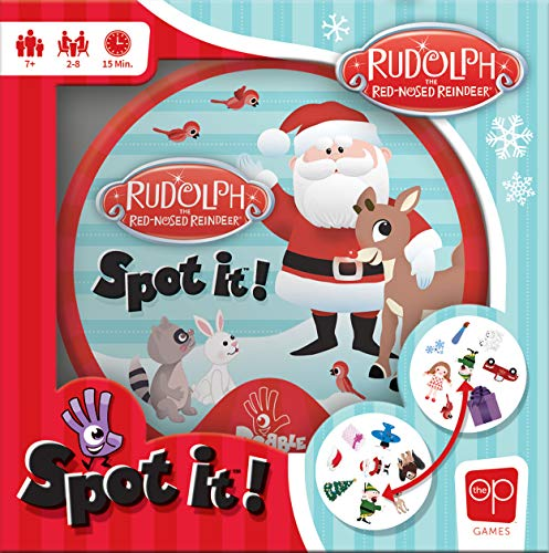 USAOPOLY Spot It Rudolph | Fun Card Game for Kids and Adults | Featuring Rudolph Santa Claus Yukon Cornelius Bumbles and More | Licensed Rudolph The Red Nosed Reindeer Game