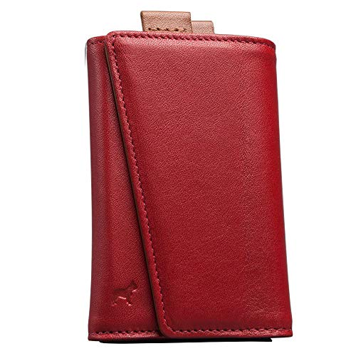 The Frenchie Co. Speed Wallet | Red Tan | The Original Speed Wallet for Men with RFID Blocking and Super Fast Card Access | Italian Leather Ultra Slim