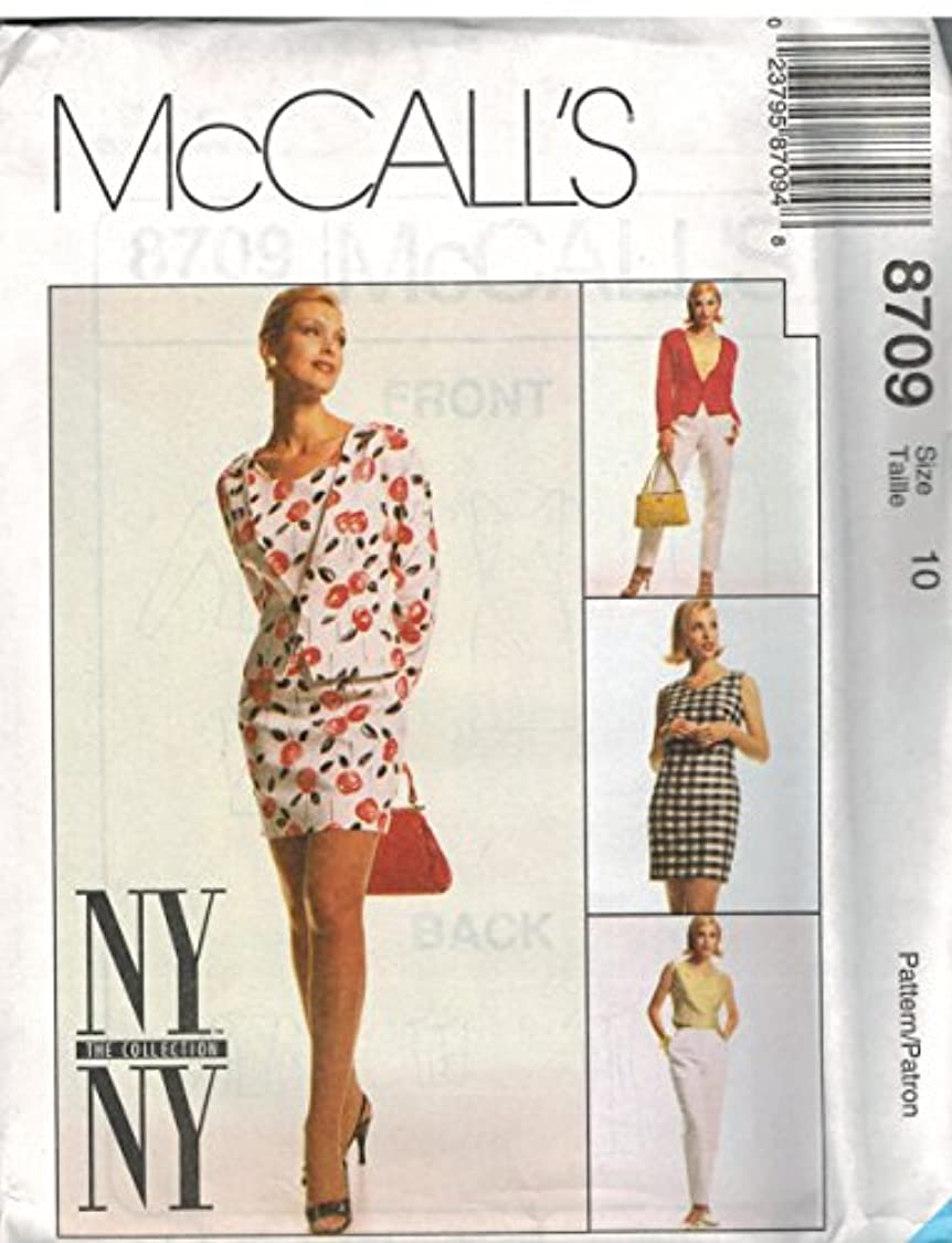 8709 McCalls Sewing Pattern Uncut Misses Lined Jacket Lined Dress Top Pants Size 4 ta41410413008224