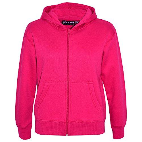 A2Z 4 Kids® Kinder Mädchen Jungen Plain Vlies Mit Kapuze - Hoodie Plain Pink 11-12
