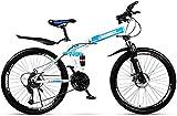 Ligero, Plegable bici adulta de la montaña, bicis de doble freno de disco Playa Nieve, suspensión completa de alta de acero al carbono de bicicletas, ruedas de 26 pulgadas Liquidación de inventario